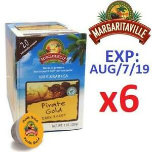 NEW 6PK MARGARITAVILLE COFFEE PODS 228013467 KEURIG 120 PIRATE GOLD DARK ROAST 100% ARABICA 1 CASE OF 6 BOXES 20 PODS...