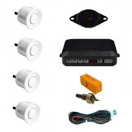 White 4 Point Rear Reverse Parking Sensor Kit Parking Aid Buzzer 12v Lexus IS200