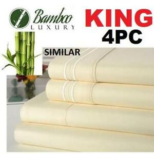 NEW BAMBOO 4PC BED SHEET SET KING HA-1123K 229832412 BAMBOO LUXURY 9800 KING DEEP POCKET WRINKLE FREE ULTRA SOFT 100%...