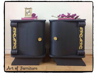 Antique French Art Deco Style Carved Bedside Tables Hand Painted in Ash Mineral Fusion Paint