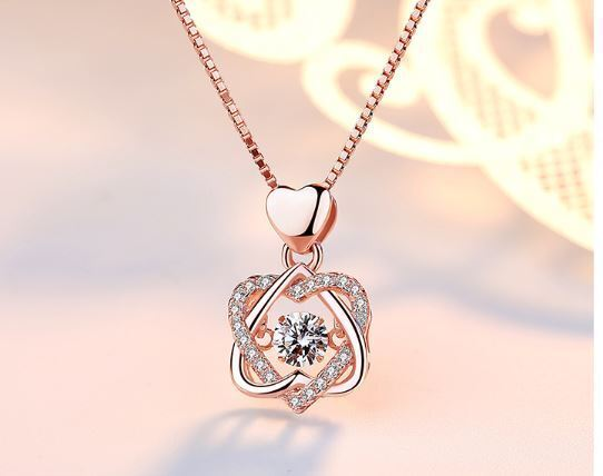 Jewellery - Rose Gold Heart Pendant 925 Sterling Silver Chain Necklace Womens Jewellery Gift