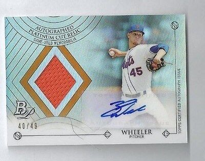 2014 Bowmans Platinum Zack Wheeler Auto Jersey #d 40/49 Cut Relics New York Mets