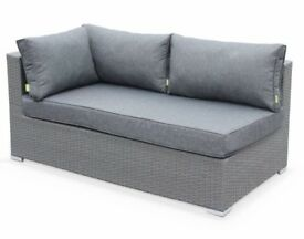 Tripoli-2x Double seater (right and left) + foot stool, grey weave