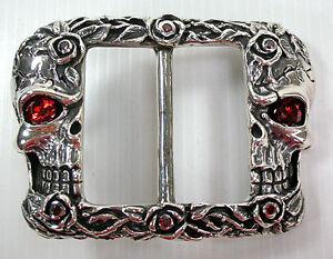 Designer-Skull-and-Roses-Tattoo-Garnet-925-Sterling-Silver-Mens-Belt-Buckle-New