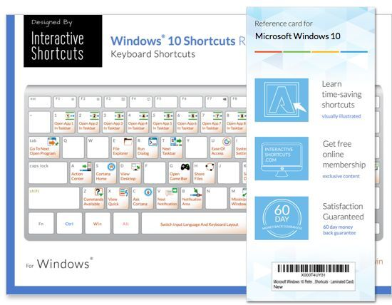 Microsoft Windows 10 Reference Guide - Keyboard Shortcuts - Laminated Card