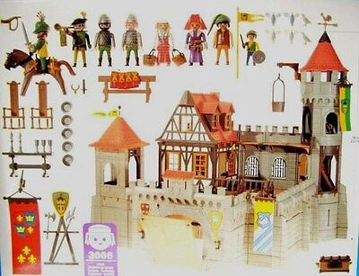 Lot Jouet Playmobil Rare Grand Chateau Fort Pont-Levis Médévial Vintage Ref 3666