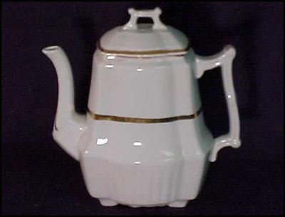 c1891-1913 Antique White Ironstone teapot copper luster square ridged