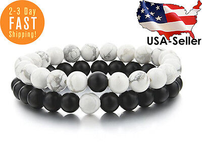 Distance Bracelets For Lovers Friends 2 Pcs Gift Black White 8 mm Beads Couples