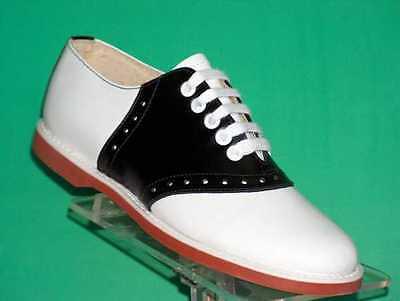 Muffy's Classic Black/white leather Saddle Shoes  US Women's sizes 5-13 (#250) (Saddle Shoes)