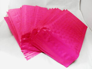 100 New Hot Pink 4x8 Bubble Mailers, Wholesale Padded Shipping Mailing Envelopes