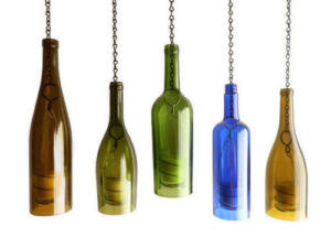 Green Glass Wine Bottle Hurricane Hanging Lantern Candle Holder