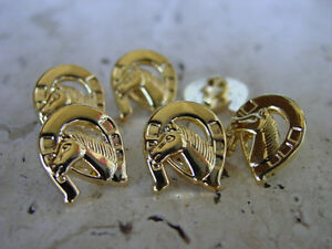 EQUESTRIAN Horse Head in Horseshoe Gold Buttons  9 Pieces Rare Custom Made 1/2