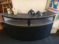 1970s Black Leather and Gold Trim Home Bar / Shop Counter. Vintage/Retro/Mid Century