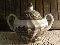 Vintage British Anchor Ironstone Memory Lane Brown Sugar Bowl and Lid