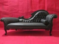 BRAND NEW Chaise Longue Wedding Sofa Black Leather French Italian Antique style Asian Wedding Chic