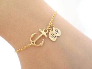 Gold, Anchor, Personalized, Letter, Initial, Bracelet