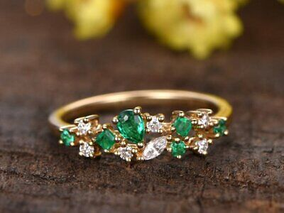 0.50ct Natural Diamond & Green Emerald Floral Stackable Promise Ring 14kt Gold ()