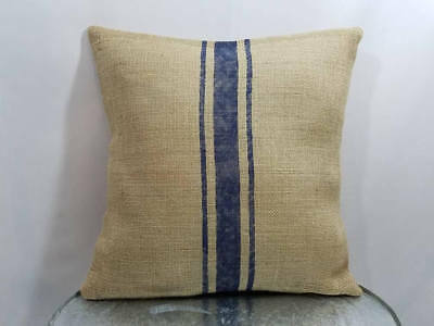 Custom natural burlap grain sack stripe NAVY BLUE (or custom color) pillow cover - Navy Burlap