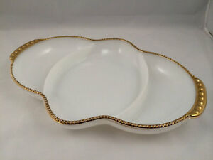 Fire King, Divided White Dishes w/Gold Rims/Milk Glass