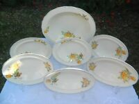 Vintage Yellow Roses Handpainted Large Dessert Bowl + 6 matching Smaller Dessert Bowls