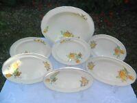 Vintage Yellow Roses Handpainted Large Dessert Bowl + 6 matching Smaller Dessert Bowls