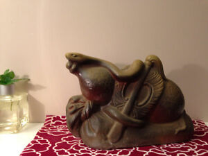 Antique Chinese zodiac, Snake statue with glaze made in Japan
