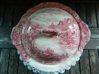 Vintage Johnson Bros Olde English Countryside Red and White Tureen and Lid