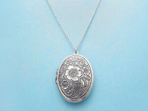 Flower, Locket, Photo, Silver, Necklace, Locket, Jewelry