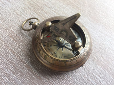 Antique Finish Brass Sundial Compass -Necklace Pendant -Old Vintage Pocket Style