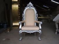 2 Ex Display Ankara Throne Chairs Asian Wedding King Thrones in Silver Ornate French carved chic