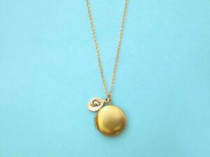Tiny, Locket, 0-2, Letter, Initial, Photo, Gold, Necklace