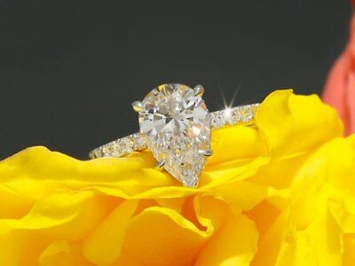 2.50Ct Pear-Cut Moissanite Diamond Solitaire Engagement Ring 14k White Gold Over