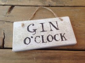 Gin O'Clock Shabby Chic Wood Craft Sign