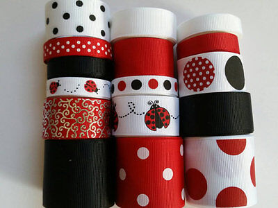 Wholesale grosgrain ribbon lot mix, lady bug print for hairbow 15 yards