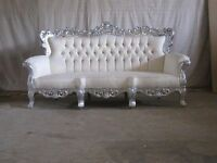 BRAND NEW 3 Piece Set Suite Venice Chaise Silver Leaf Rococo Antique Gothic Baroque French Wedding