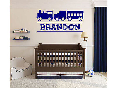 Train Monogram Name Decal for Boys or Childs Room Vinyl Wall Decal for Home Deco
