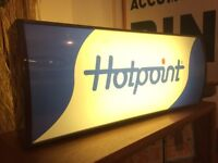 1970s light up 'Hotpoint' Advertising Sign. Vintage/Retro/Mid Century
