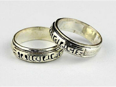 Tibetan Silver 2-Layer Carved Mantra Om Mani Padme Hum Luck Change Spin Ring