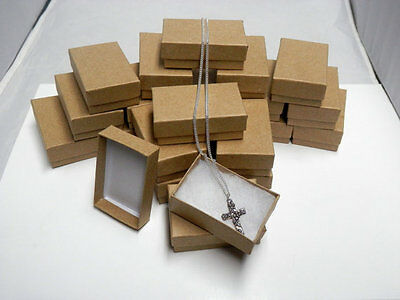 New 50 Small Kraft Cotton Filled Jewelry Charm Pendant Ring Gift Boxes