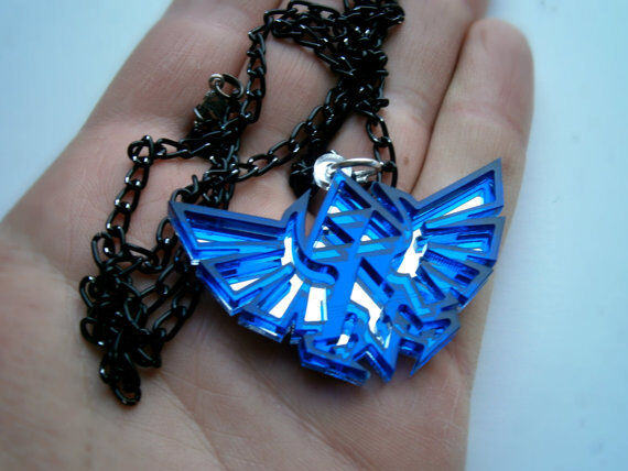 Zelda Necklace - Laser Cut Blue Transparent  Acrylic and mirror Pendant