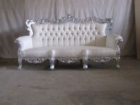 BRAND NEW 2 Piece Sofa Set Venice Chaise Silver Leaf Rococo Antique Gothic Baroque French Wedding