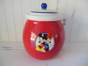Disney Mickey /Minnie Mouse Ceramic Red Cookie/Canister Jar