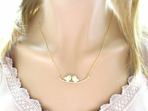 Birds on a branch, Gold, Silver, Necklace