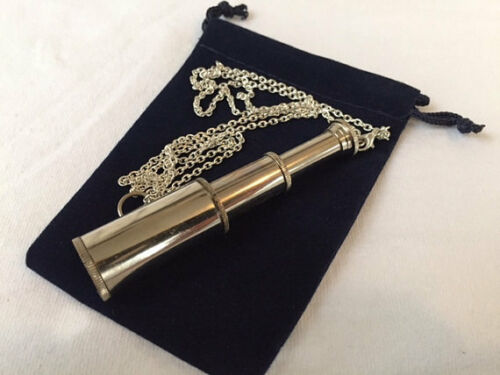 "Chrome Finish Brass Pocket Telescope Necklace w/ 27"" Chain & Velour Bag Nautical"
