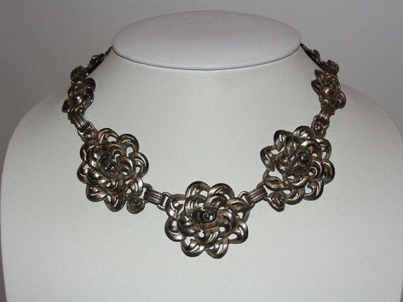 Victorian Pot Metal Floral Necklace and Bracelet Set