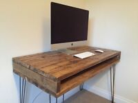 Reclaimed Pine Rustic Box Desk Solid Wood Dressing Table Metal Hairpin Legs FREE UK DELIVERY