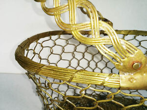 Vintage Solid Brass Basket Hand Woven India --Pierrefonds--- West Island Greater Montréal image 2