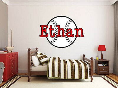 Baseball Name Monogram Sports Room Vinyl Wall Decal Graphics 22