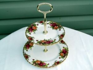 Royal Albert Old Country Roses 2-Tier Cake/Dessert Stand