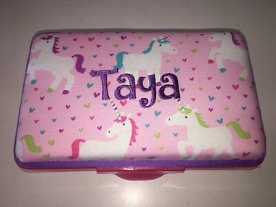 Personalized Kids School Pencil Box Case Pink Unicorn Pony Horse - Personalized Pencil Case